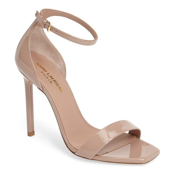 Saint Laurent amber ankle strap sandal in nude patent - Ultra-sleek ankle-strap stilettos in a neutral hue let...