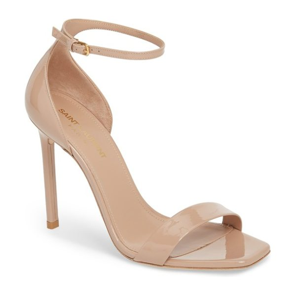 Saint Laurent amber ankle strap sandal in beige