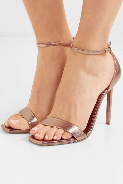 Saint Laurent amber metallic leather sandals in pink - Saint Laurent's 'Amber' sandals have a barely there...