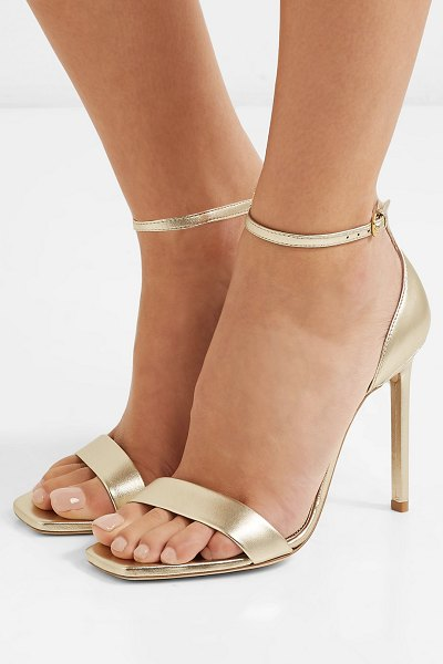 Saint Laurent amber metallic leather sandals in gold