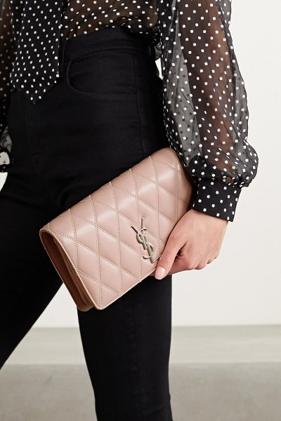 Saint Laurent angie quilted leather shoulder bag in pink