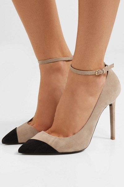 Saint Laurent anja two-tone suede pumps in beige - Saint Laurent's pumps are named after Anja Rubik - the...