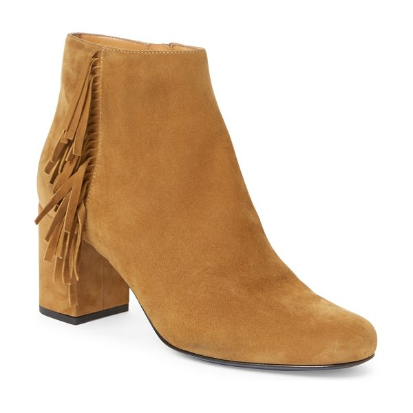 Saint Laurent babies fringed suede block-heel booties in tan - Fringed trim lends boho-chic flair to suede bootie....