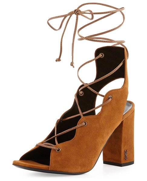 "Saint Laurent Babies Suede Lace-Up 90mm Sandal in tan - Saint Laurent suede sandal. 3.5"" covered block heel...."