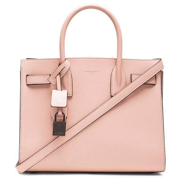 Saint Laurent Baby Double Face Sac De Jour in pink - Smooth calfskin leather with black bonded leather lining...