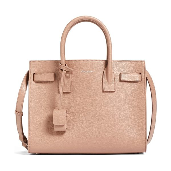 Saint Laurent Baby sac de jour bonded leather tote in pink - Bonded calfskin leather enriches a sized-down version of...