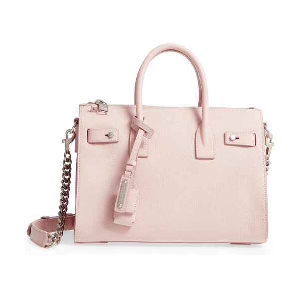 Saint Laurent baby sac de jour calfskin tote in marble pink - Grained calfskin highlights the clean lines of a...