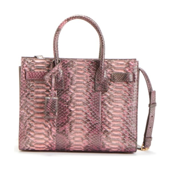 Saint Laurent 'baby sac de jour' genuine python tote in rose/brown/grey - A Saint Laurent tote impeccably crafted from vibrant...