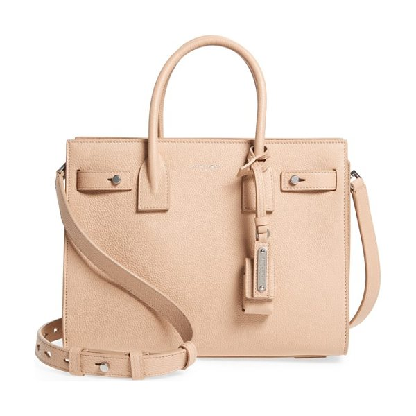 Saint Laurent baby sac de jour leather tote in poudre - Lavish grained leather showcases the clean, graceful...