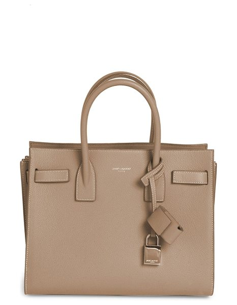Saint Laurent baby sac de jour leather tote in taupe - Sophisticated top-handle tote with signature padlock....