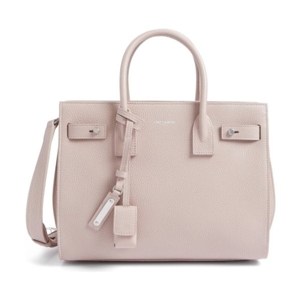 Saint Laurent baby sac de jour leather tote in rose poudre - Lavish grained leather showcases the clean, graceful...