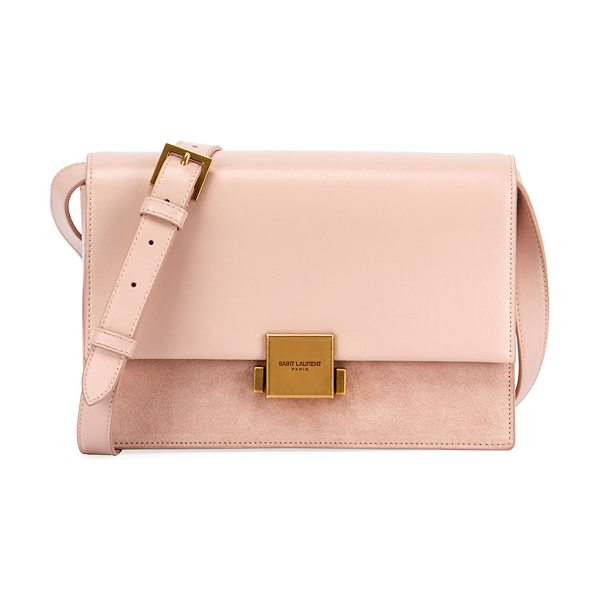 "Saint Laurent Bellechasse Medium Leather/Suede Satchel Bag in light pink - Saint Laurent ""Bellechasse"" suede and leather satchel..."