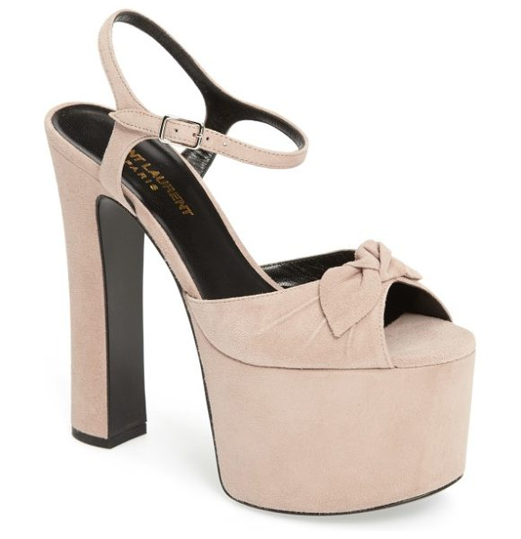 Saint Laurent betty platform sandal in light pink suede - Dare to make a statement in this dynamic ankle-strap...