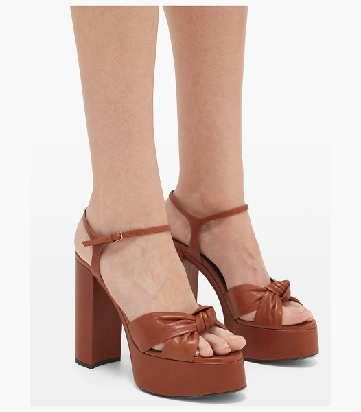 Saint Laurent bianca knotted leather platform sandals in tan
