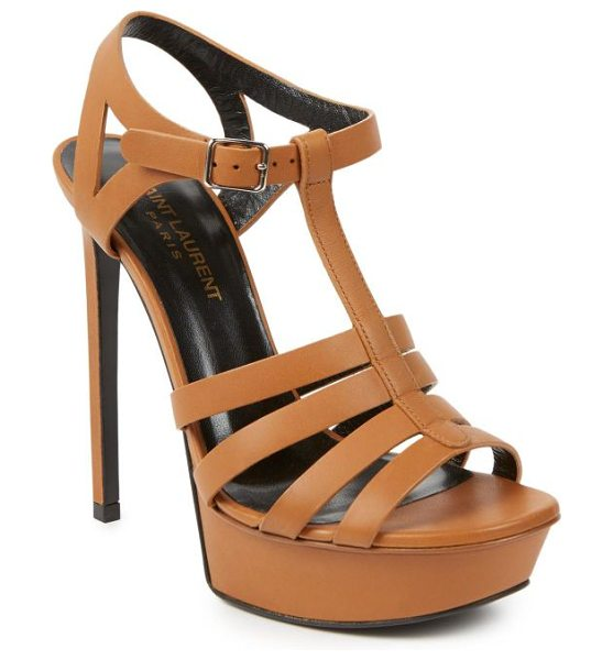 Saint Laurent Bianca leather sandals in beige - Classically chic sandals crafted from luxe leather and...