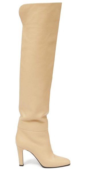 Saint Laurent over-the-knee leather boots in cream