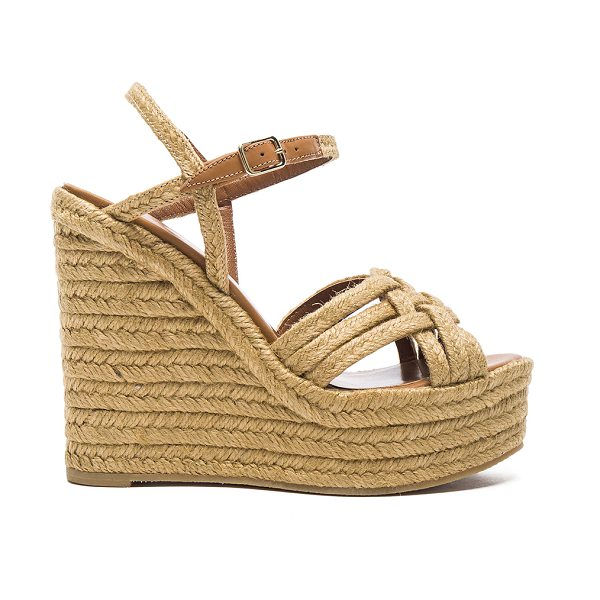 Saint Laurent Braided Leather Platform Espadrilles in cognac - Braided jute upper with rubber sole. Made in Spain....