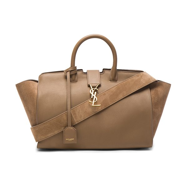 Saint Laurent Cabas Small Monogramme Bag in taupe - Calfskin leather with suede lining and gold-tone...