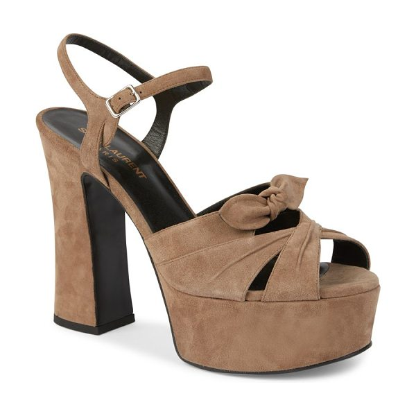 Saint Laurent candy suede platform sandals in taupe - Pleated suede crisscross sandal set on chunky platform....