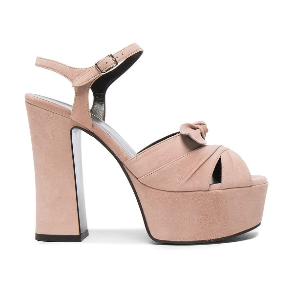 Saint Laurent Candy Suede Platforms in rose antic - Suede upper with leather sole. Made in Italy. Approx...