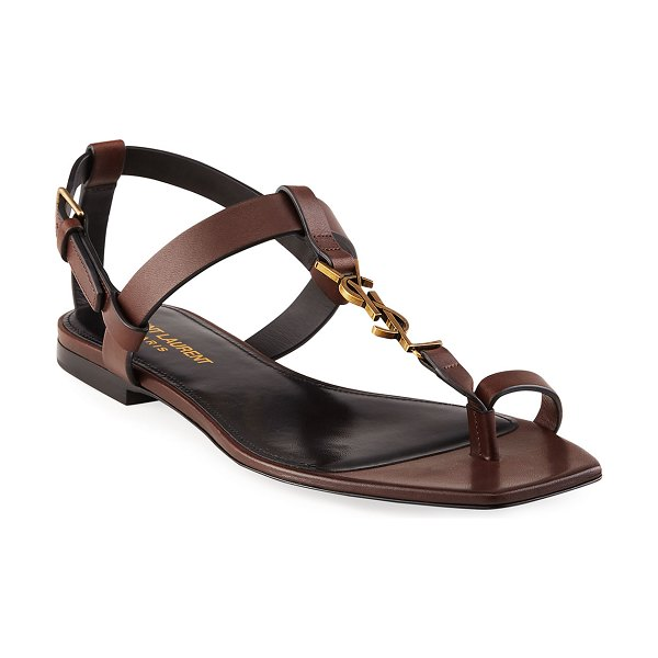 Saint Laurent Cassandra Toe-Ring YSL Flat Sandals in brown