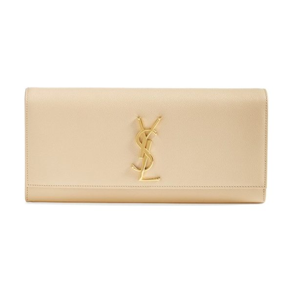 Saint Laurent 'monogram' leather clutch in poudre - A gilt insignia polishes the front of sleek, structured...