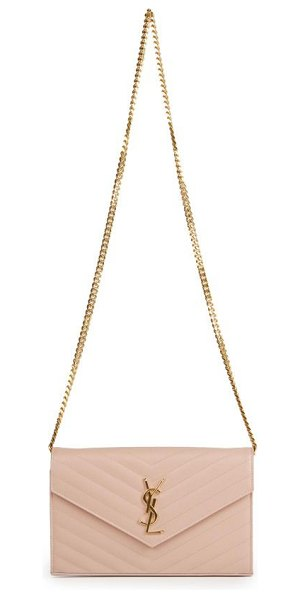 Saint Laurent Monogram medium grained matelasse leather chain wallet in lightrose - Beautiful matelassé stitching creates a luxe quilted...