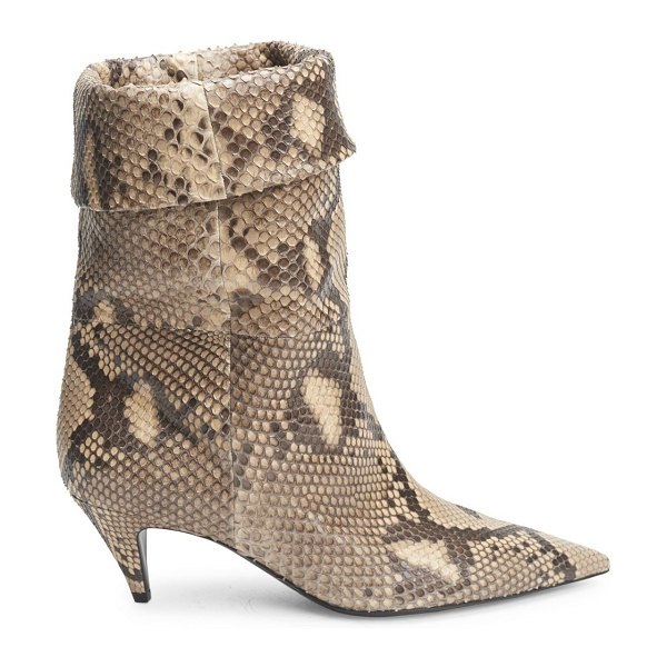 Saint Laurent charlotte python mid-calf booties in neutral - Python lends an exotic element to these booties. Python...