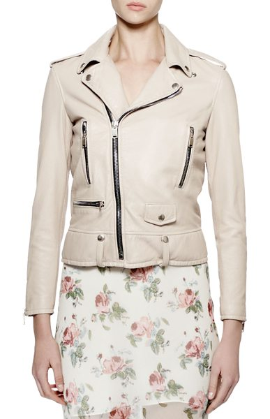 Saint Laurent Classic moto leather jacket in rose poudre - Saint Laurent washed-leather moto jacket. Notched...