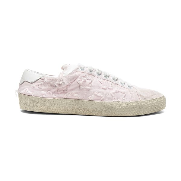 Saint Laurent Court Classic Star Leather Sneakers in washed pink & optic white - Canvas upper with rubber sole. Made in Italy. Padded...