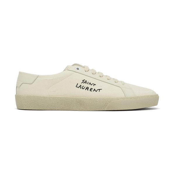 Saint Laurent court logo-embroidered distressed canvas trainers in cream