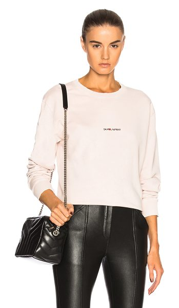 Saint Laurent Crewneck Sweatshirt in pale pink - 100% cotton. Made in Italy. Machine wash. Rib knit trim....
