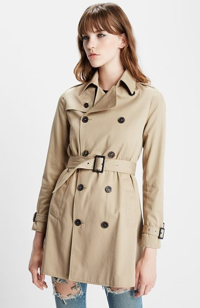 SAINT LAURENT double breasted gabardine trench coat - All the telltale signs of a classic trench keep this...
