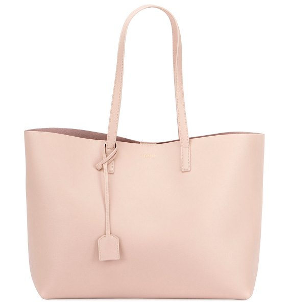Saint Laurent East West Calfskin Shopping Tote Bag in light pink