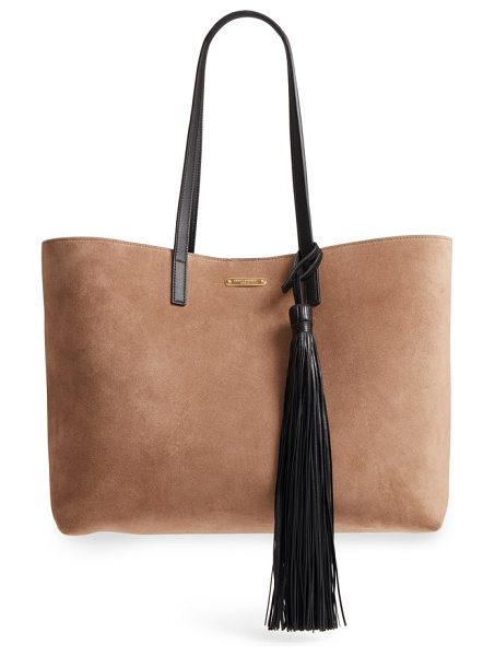 Saint Laurent east/west suede tote in taupe/ black - A cleanly styled tote from Saint Laurent in supple suede...