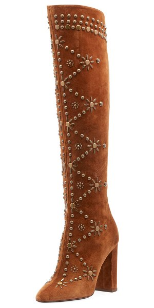 Saint Laurent Ella Studded Suede Knee Boot in camel - Saint Laurent suede knee boot with flower stud design....
