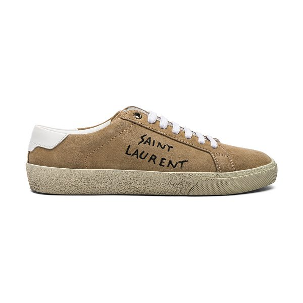 Saint Laurent Embroidered Suede Court Classic Sneakers in neutrals - Suede upper with rubber sole.  Made in Italy. ...