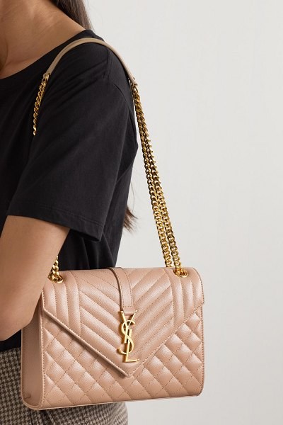 Saint Laurent envelope medium quilted textured-leather shoulder bag in beige