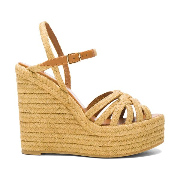 Saint Laurent Espadrille Wedges in caramel - Jute upper with rubber sole. Made in Spain. Approx 40mm/...