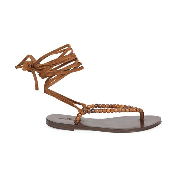 Saint Laurent gia ankle-wrap beaded suede thong sandals in tan