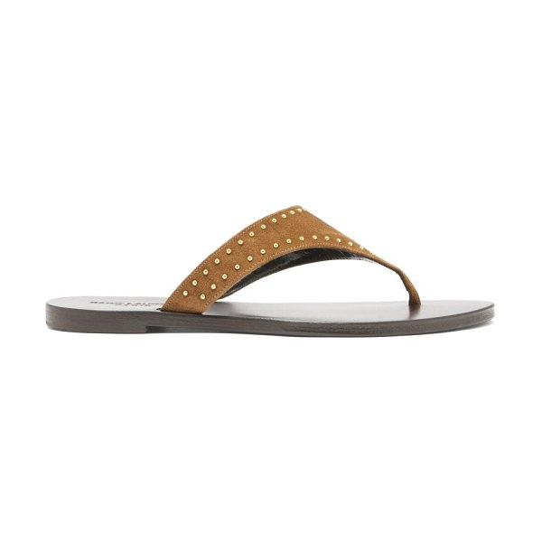 Saint Laurent gia studded suede sandals in brown