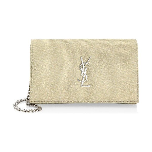 SAINT LAURENT grained leather chain shoulder bag - Timeless heritage design featuring the YSL logo in...