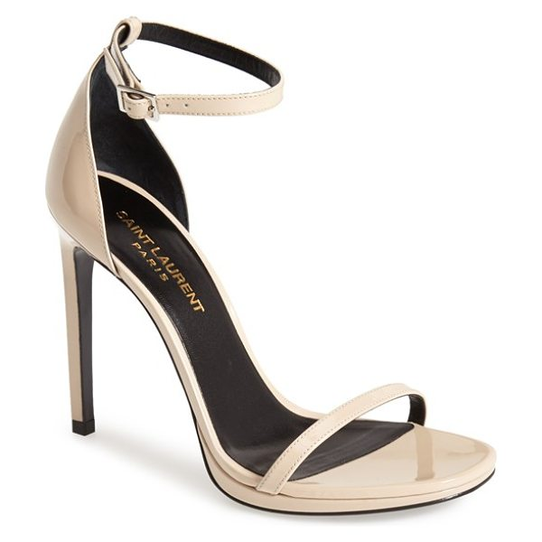 Saint Laurent jane ankle strap leather sandal in poudre