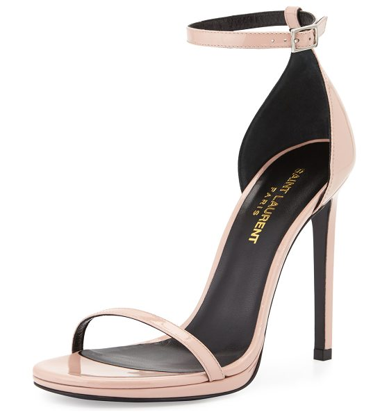 "SAINT LAURENT Jane Patent d'Orsay Sandal - Saint Laurent patent leather sandal. 4.3"" covered..."
