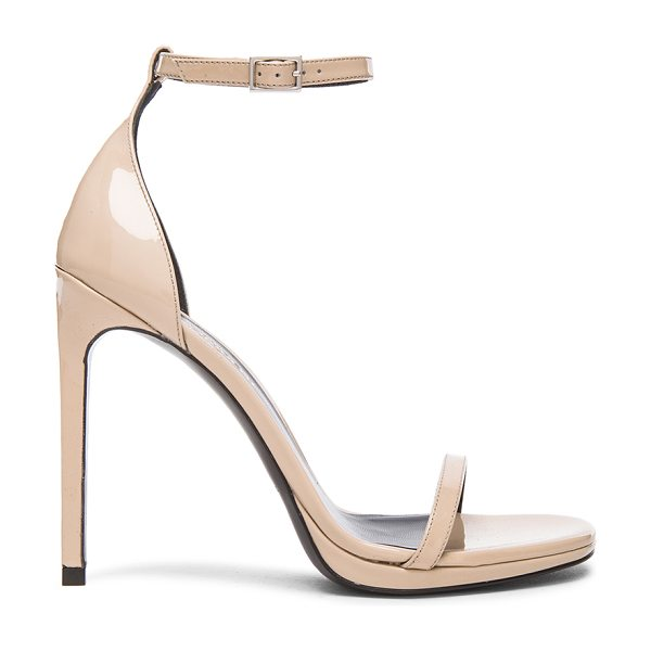 Saint Laurent Patent Leather Jane Sandals in neutrals