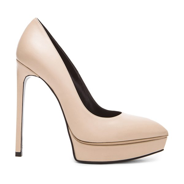Saint Laurent Janis platform leather pumps in neutrals - Calfskin leather upper and sole.  Made in Italy.  Approx...