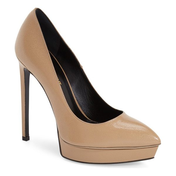 Saint Laurent janis pointy toe platform pump in darker nude leather - Lightly textured, glazed leather defines the alluring...