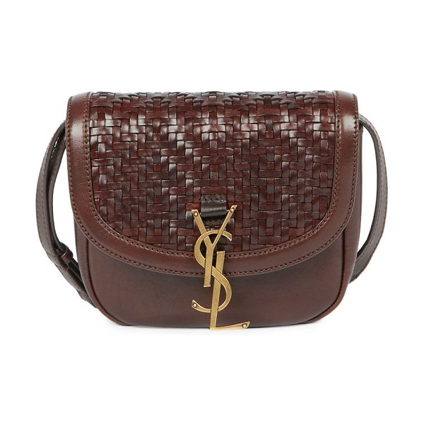 Saint Laurent kaia woven leather & suede saddle bag in burnt brown