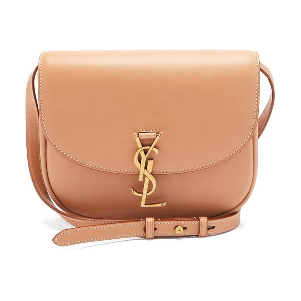 Saint Laurent kaia ysl-plaque leather cross-body bag in tan