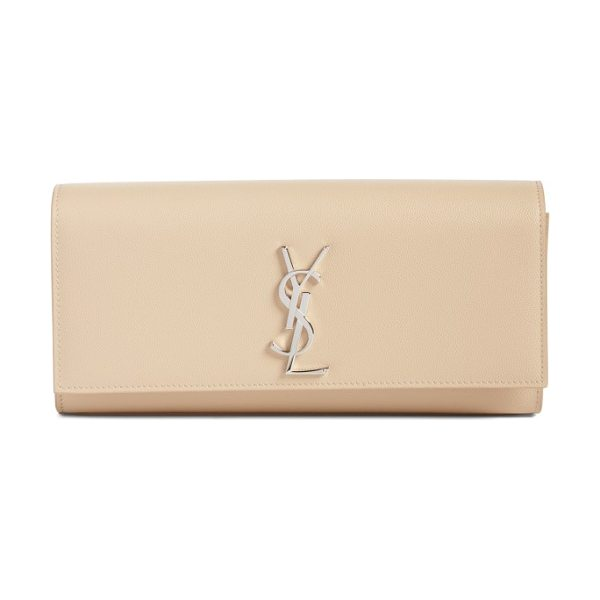 Saint Laurent kate calfskin leather clutch in nude powder - Textured calfskin leather is perfectly set off with...